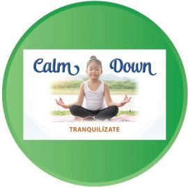 Calm Down. Tranquilize. Little girl meditating.