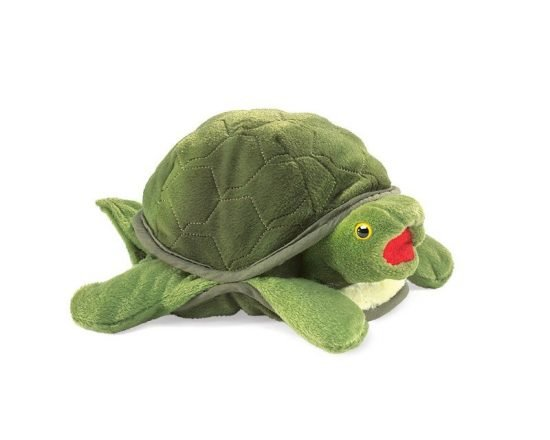 Stuffed toy turtle, front view, green