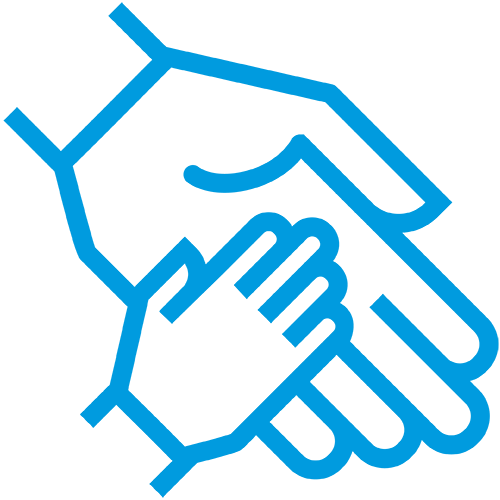 Icon of small hand in a bigger hand
